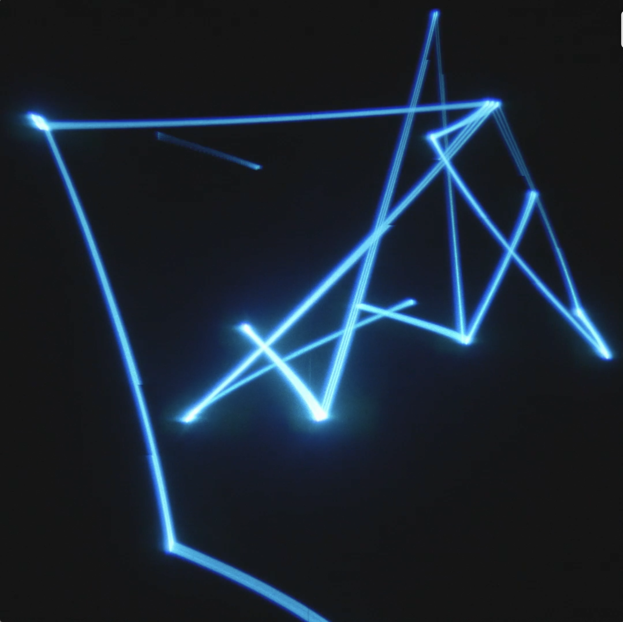 Study For 'The Summoning' (2020) 300cm (h) x 245cm (w) x 245cm (d) Aluminium Frame, Back projection screen, Black fabric,  BB4 laser projector, optical lens and bracket, laser interface, computer, cables Custom software, Leap Motion sensor, plinth.